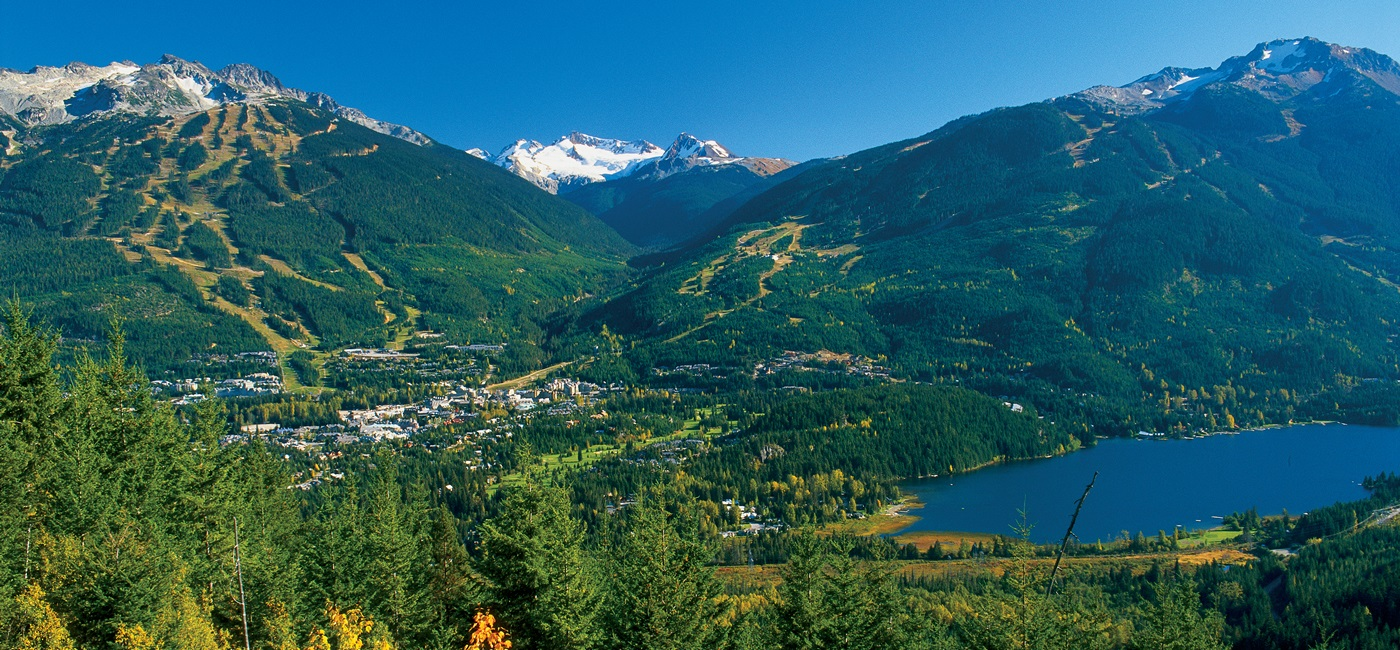 Whistler and Blackcomb Mountains in summer